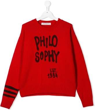 Philosophy di Lorenzo Serafini Kids TEEN logo embroidered sweater
