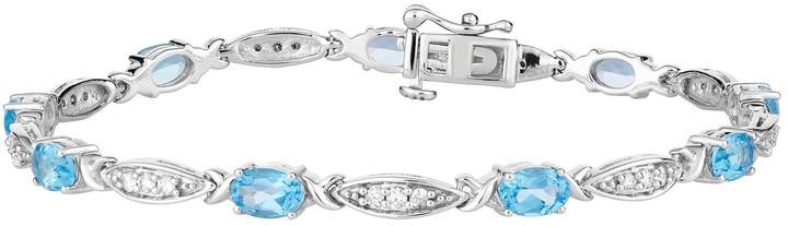 10k White Gold Swiss Blue Topaz & 1/2 Carat T.W. Diamond Bracelet