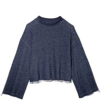 Vince Camuto Raw-hem Zip-sleeve Sweatshirt