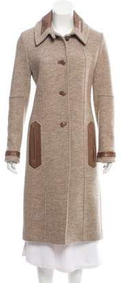 Martin Grant Leather-Trimmed Wool Coat