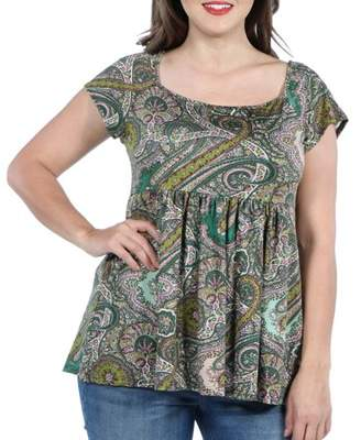 24/7 Comfort Apparel 24Seven Comfort Apparel Marlowe Green Paisley Short Sleeve Plus Size Tunic Top