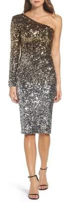 Dress the Population Chrissie One-Shoulder Ombr? Sequin Sheath Dress