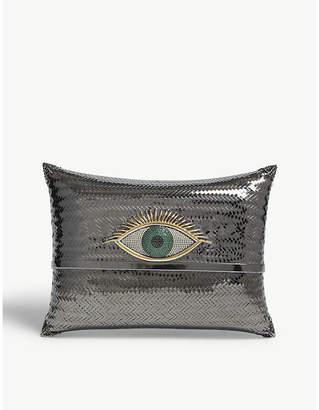 Begum Khan Rhodium Dark Grey Vibrant Evil Eye Cushion Minaudiere Clutch Bag