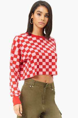 Forever 21 Checkered Waffle-Knit Top