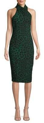 Rachel Roy Harland Leopard-Print Cross Halter Bodycon Dress