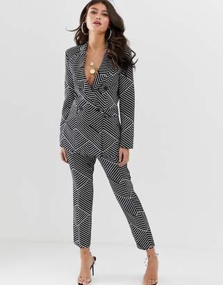 Asos Design DESIGN mono geo slim suit trousers