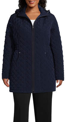 Liz Claiborne Woven Hooded Lightweight Quilted Jacket-Plus