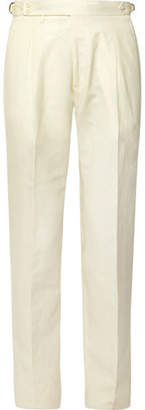Zanella Nico Tapered Pleated Virgin Wool And Linen-blend Trousers - Cream