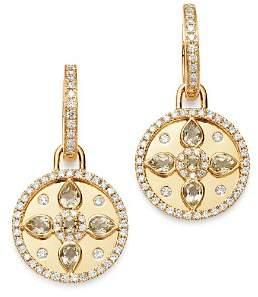 Kiki McDonough 18K Yellow Gold Jemima Lemon Quartz & Diamond Drop Earrings