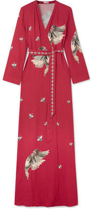 Vilshenko Claudine Printed Crepe De Chine Wrap Maxi Dress - Red