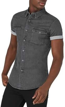 Topman Muscle Fit Denim Shirt