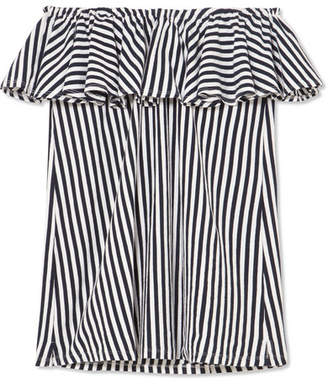 MDS Stripes Ray Off-the-shoulder Ruffled Striped Cotton-jersey Top