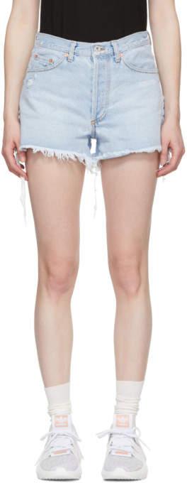 Blue Denim Five-pocket Shorts