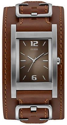 GUESS Brown Leather Cuff Watch U1165G1