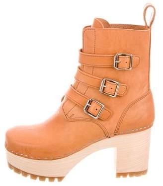 Swedish Hasbeens Leather Platform Boots