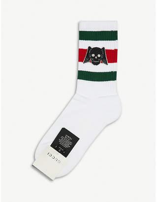 Gucci Winged Skull stretch-cotton socks