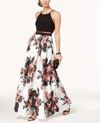 Betsy & Adam Illusion Floral-Print Gown