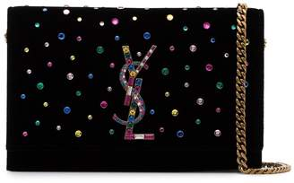 Saint Laurent Kate Crystal Embellished Velvet Bag