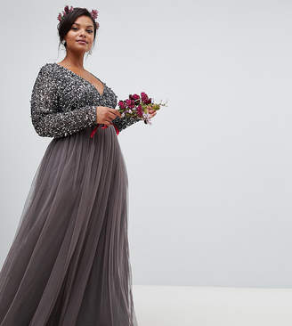Maya Plus long sleeve wrap front maxi dress with delicate sequin and tulle skirt in charcoal