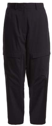 Stella McCartney High Rise Tapered Leg Wool Cargo Trousers - Womens - Navy