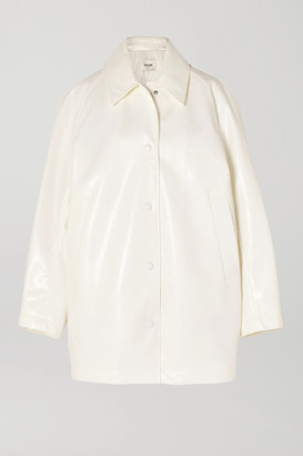 we11done Snake-effect Faux Leather Coat - White