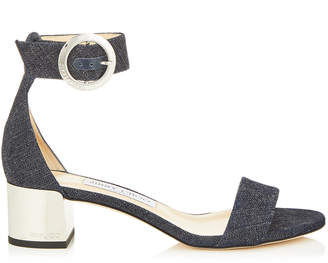 Jimmy Choo JAIMIE 40 Indigo Denim Sandal with Round Buckle Fastening