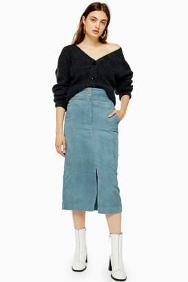 Topshop Cord Pencil Midi Skirt
