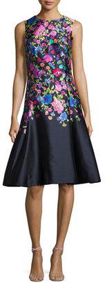 Oscar de la Renta Sleeveless Floral-Print Sateen Dress, Navy/Multi $2,390 thestylecure.com