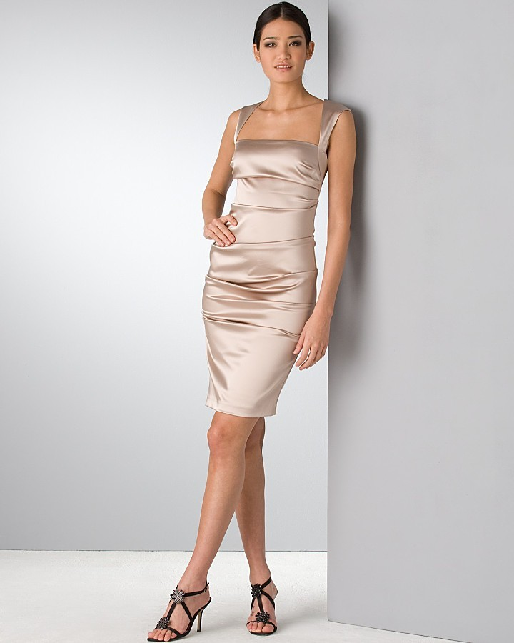 Nicole Miller exposed zipper satin cocktail dress