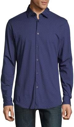 Stone Rose Men's Dotted Cotton Button-Down Shirt