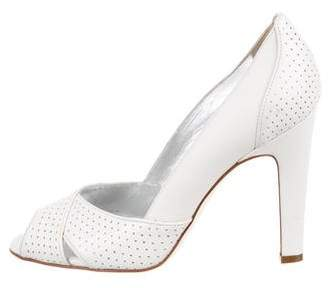 Dolce & Gabbana Perforated Leather Peep-Toe Pumps