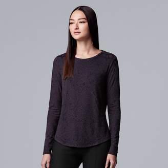 Vera Wang Petite Simply Vera Two-Tone Long Sleeve Top