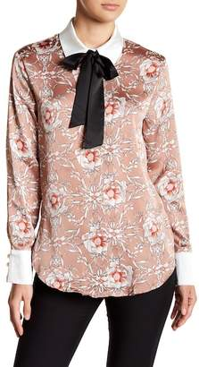 Gracia Floral Necktie Satin Blouse