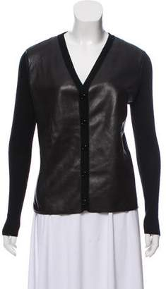 Loewe Cashmere Leather Trimmed Cardigan