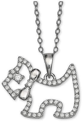 "Giani Bernini Cubic Zironia Scottie Dog 18"" Pendant Necklace in Sterling Silver"