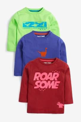 Next Boys Multi 3 Pack Long Sleeve Dino T-Shirt (3mths-7yrs) - Red