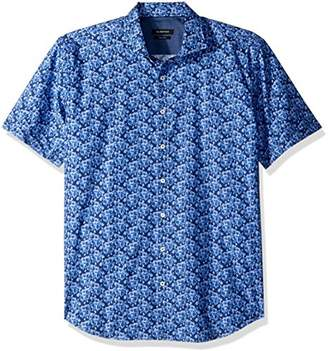Bugatchi Men's Fitted Short Sleeve Printed Floral Pattern Shirt
