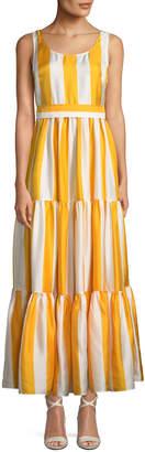Double J Scoop-Neck Sleeveless Striped Silk Maxi Dress