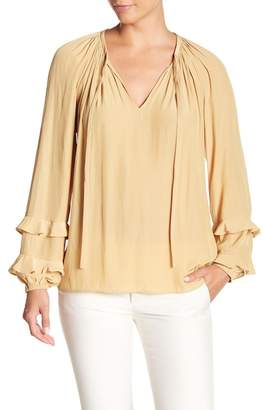 Ramy Brook Anna Long Sleeve Ruffle Trim Blouse
