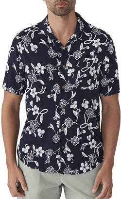 Faherty Men's Hawaiian Floral-Print Short-Sleeve Shirt