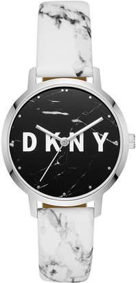 DKNY Women Modernist Gray & White Leather Strap Watch 36mm