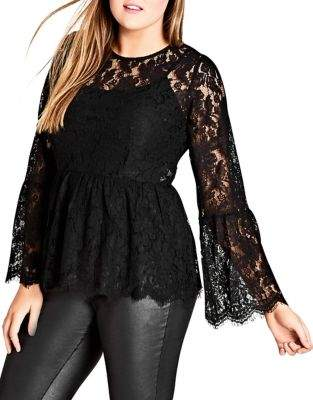 City Chic Plus Divine Lace Bell Sleeve Top