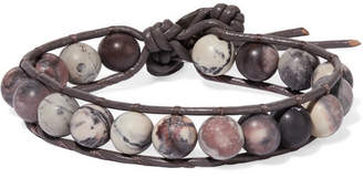 Chan Luu Leather, Silver And Jasper Bracelet - Gray