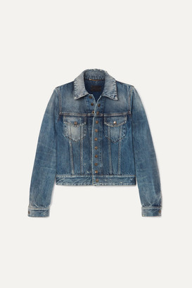 Saint Laurent Distressed Denim Jacket - Blue