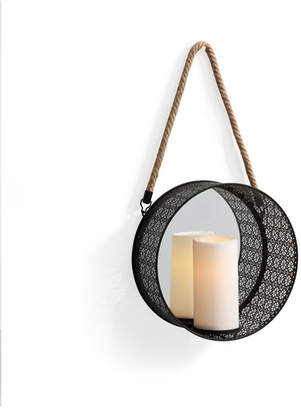 Danya B. Round Mirror Pillar Candle Sconce with Filigree Metal Frame