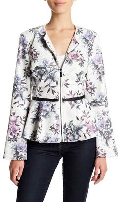 Bagatelle Faux Leather Floral Peplum Hem Jacket