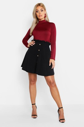 boohoo Plus Paper Bag Button Detail Skater Skirt