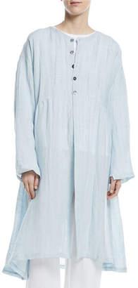 eskandar Round-Neck Linen-Blend Pleated Coat