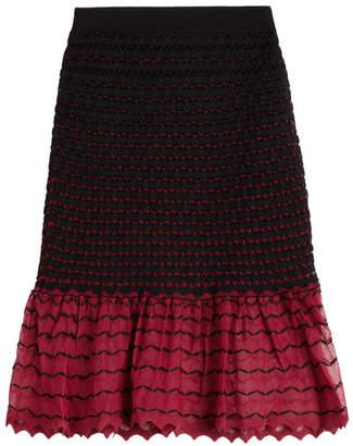 Alexander McQueen Textured Knit Skirt with Contrast Hem