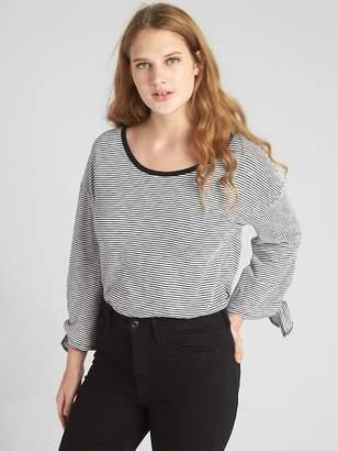 Gap Stripe Long Tie-Sleeve T-Shirt in Slub Cotton